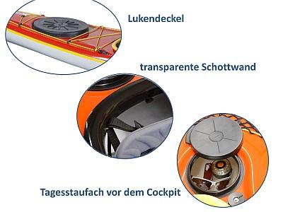 Lettmann-Ausstattung: Lukendeckel, Schottwand, Tagesstaufach